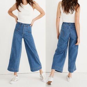 MADEWELL Emmett Wide Leg Crop Jeans Rainbow Stitch